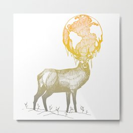 Deer God (Stag & Earth Illustration) Metal Print