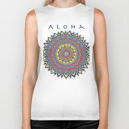 "Vintage Inspired ""Aloha"" Mandala Print Biker Tank"