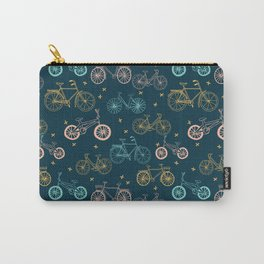 Bicycles cycle pattern navy and pastel pink by andrea lauren Carry-All Pouch