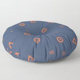 Happy Particles - Dark Blue Floor Pillow