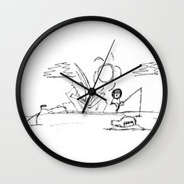 Man at Lost Island ArtLine Style Wall Clock