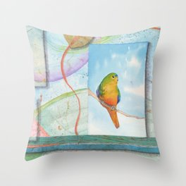Song for Orange Bellied Parrot Throw Pillow