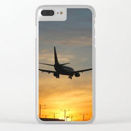 Boeing 737 Sunset Landing Clear iPhone Case