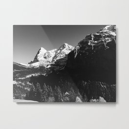 Swiss Alps Black and White Metal Print
