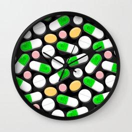 Deadly Pills Pattern Wall Clock