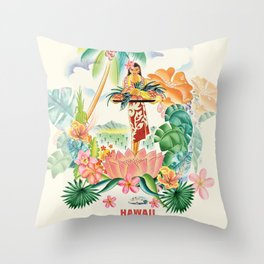 Vintage Hawaiian Travel Poster Throw Pillow