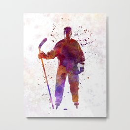 Hockey man player 01 in watercolor Metal Print