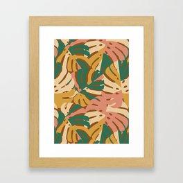 Monstera Leaves - Gold - Green - Pink Framed Art Print