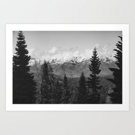 Snow Capped Sierras - Black and White Nature Photography Art Print