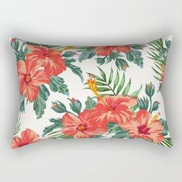 Tropical Leaf Flowers Rectangular Pillow