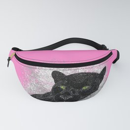Black panther on a branch - Pink Fanny Pack