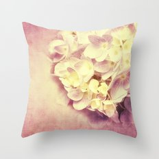 HYDRANGEA IN VANILLA AND PINK Throw Pillow
