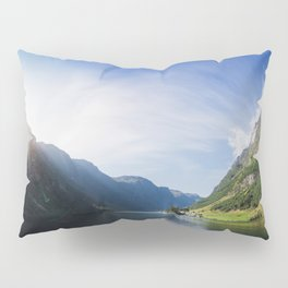 Sunrise over Fjord Village - Wide Panorama Pillow Sham