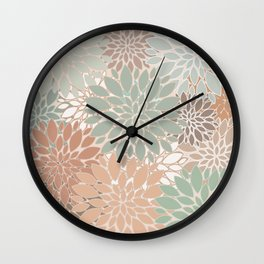 Abstract Vintage Retro Colors Botanical  Big Flowers Wall Clock