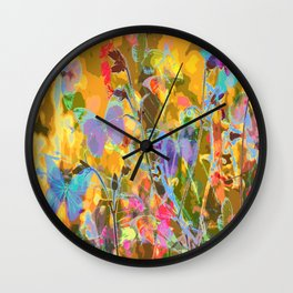 Butterflies flying in meadow - lovely colors and details - summer mood Wall Clock