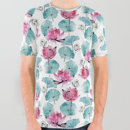 Waterlily buds All Over Graphic Tee