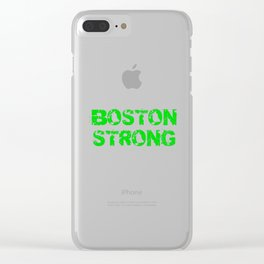 Support BOSTON STRONG Green Grunge Clear iPhone Case