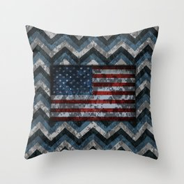 Blue Military Digital Camo Pattern with American Flag Throw Pillow