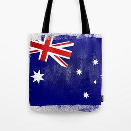 Australian Distressed Halftone Denim Flag Tote Bag