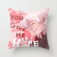 dangan ronpa Throw Pillows featuring Nagito Valentines  by NerdyLazorz