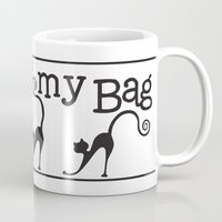 tote bag Mugs featuring Cats are my Bag by Spiral Envy