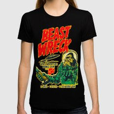 BEASTWRECK ATTACKS! Black X-LARGE Womens Fitted Tee
