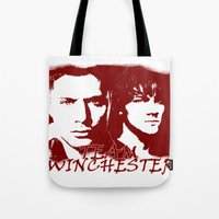 winchester Tote Bags featuring Team Winchester by Panda Cool