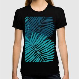 Modern Tropical Palm Leaves Painting blue on white background T-shirt
