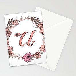 Letter U Rose Pink Initial Monogram - Letter u Stationery Cards