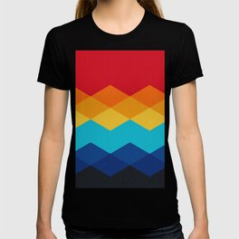 Abstract argyle pattern - red orange yellow sky blue deep blue and black T-shirt