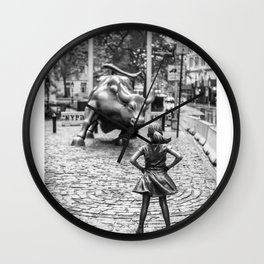 Fearless Girl Statue Wall Street Street Wall Clock