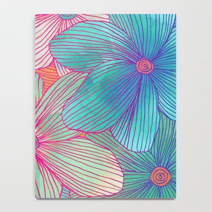Between the Lines - tropical flowers in pink, orange, blue & mint Notebook