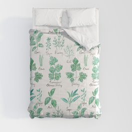 green herbs family watercolor Comforters