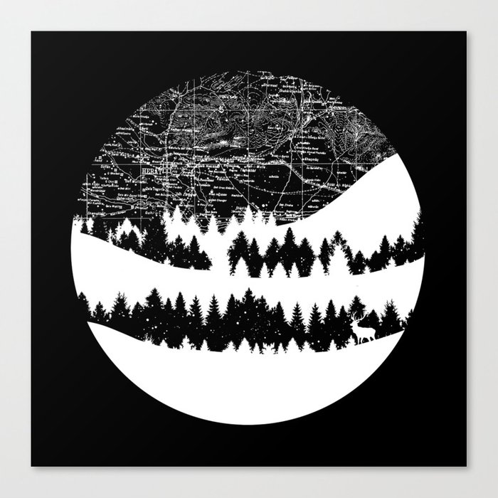Map Silhouette Circle Canvas Print