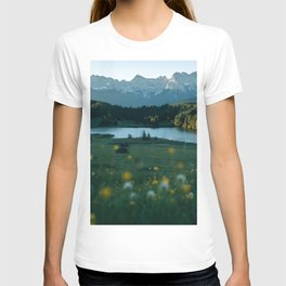 Sunrise at a mountain lake with forest - Landscape Photography T-shirt