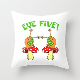 Eye Five Slimey Slime Snail T-shirt Design Shell Slow Running Marathon Team Triathlon Runner Throw Pillow