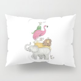 A Stack Of Animals with elephant, lion, flamingo, monkeys and snake Pillow Sham