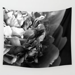 Black and White Summer Peony Wall Tapestry