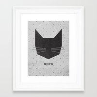 geo Framed Art Prints featuring MEOW by Wesley Bird