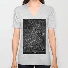 Vienna Black Map Unisex V-Neck