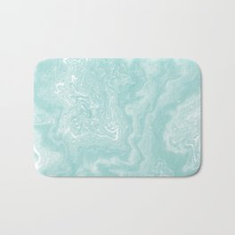Moki - pastel mint spilled ink japanese watercolor paper marbling marble trendy abstract painting  Bath Mat