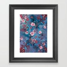 flowers blue pattern Framed Art Print