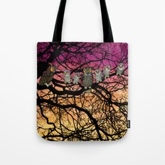 great horned owls at sunset Tote Bag