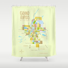 Illustrated Grand Rapids Map Shower Curtain
