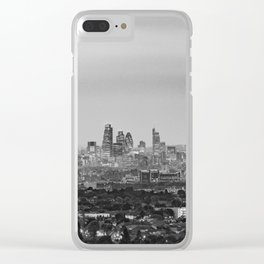 Black and White London Aerial View at Night - United Kingdom Clear iPhone Case