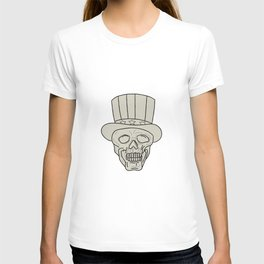 Uncle Sam Top Hat Skull Drawing T-shirt
