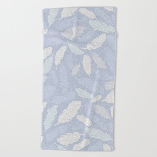 Feather Pattern Light Blue Beach Towel