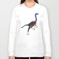 nightcrawler Long Sleeve T-shirts featuring Nightcrawlimimus - Superhero Dinosaurs Series by LEGITIMVS MAXIMVS
