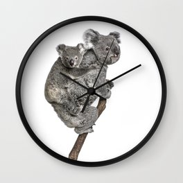 Mother Koala and her Baby Wall Clock