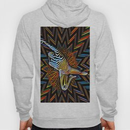 1837s-MS Abstract Colorful Zebra Stripe Nude Woman Hoody